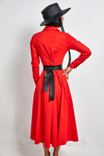 Load image into Gallery viewer, Eva pleated red cotton maxi dress