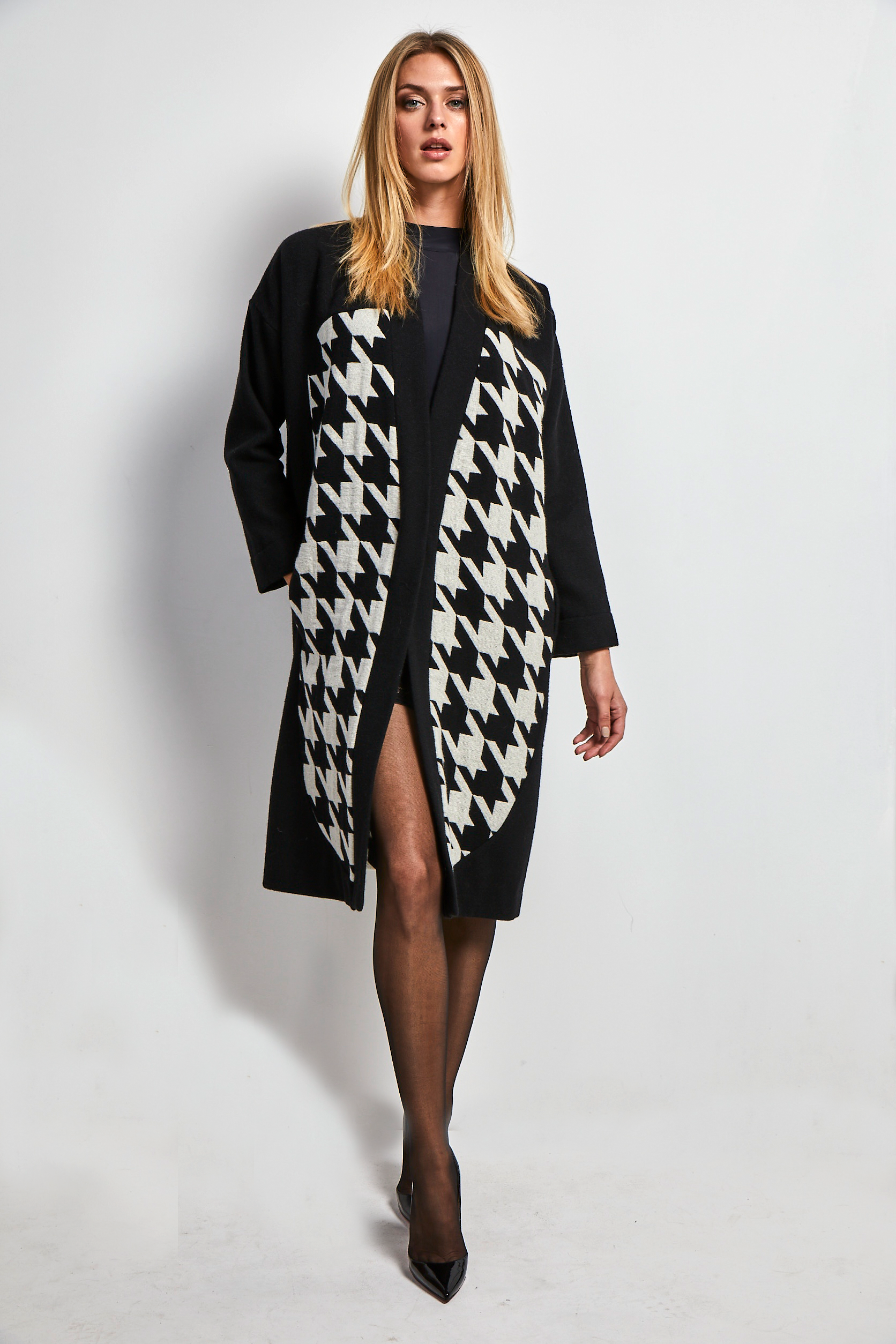 Long black & white cardigan
