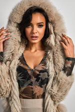 Load image into Gallery viewer, Rabbit fur hooded jacket