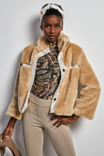 Load image into Gallery viewer, Faux Fur cropped cream Jacket