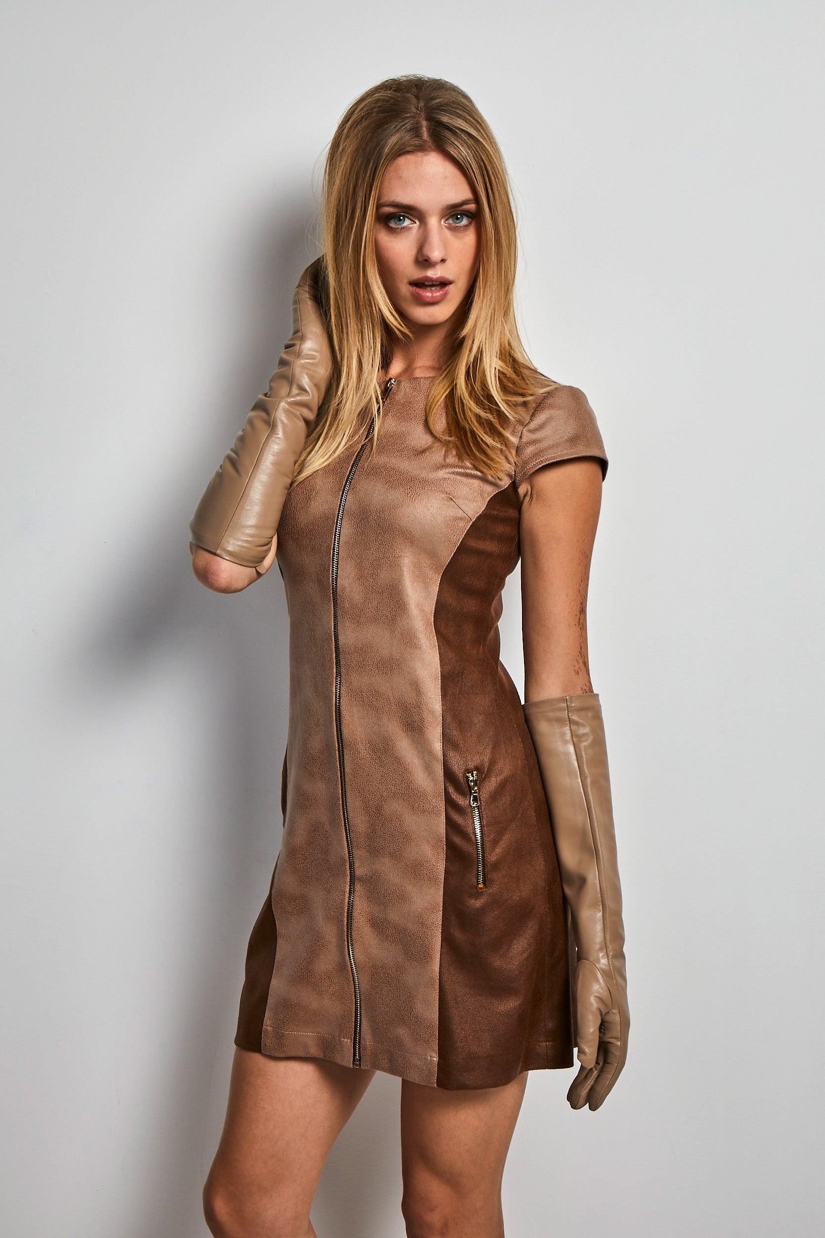 Eco leather two tone dress