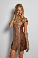 Load image into Gallery viewer, Eco leather two tone dress