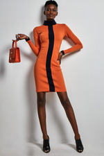 Load image into Gallery viewer, Orange jersey fitted Dress