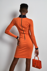 Orange jersey fitted Dress