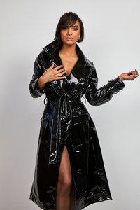 Black latex coat
