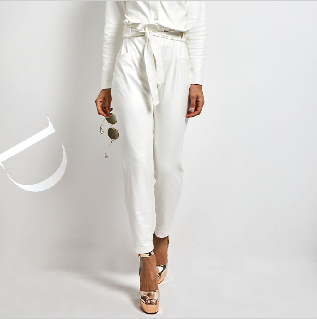 Belted eco Leather Pants