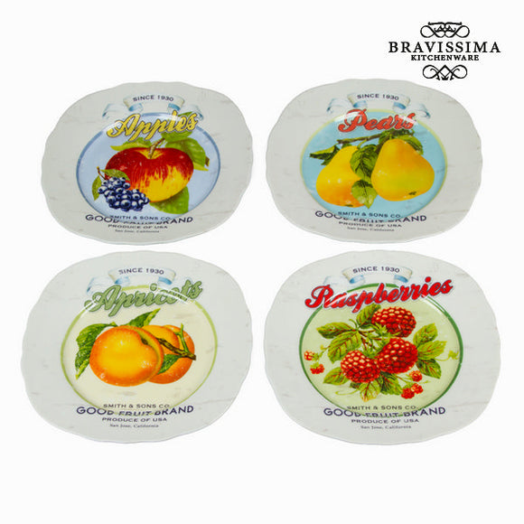 Lot de 4 assiettes fruits - Collection Kitchen's Deco by Bravissima Kitchen