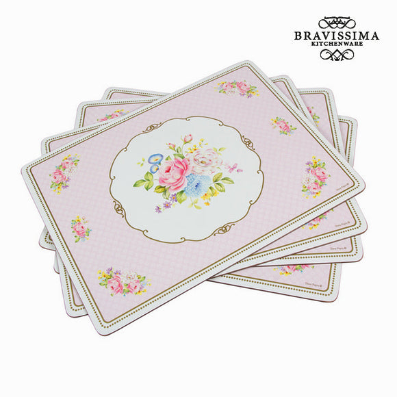 Lot de 4 dessous de plat bouquet - Collection Kitchen's Deco by Bravissima Kitchen