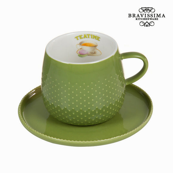 Tasse avec soucoupe verte - Collection Kitchen's Deco by Bravissima Kitchen