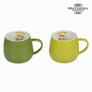 Lot de 2 tasses vertes tea time - Collection Kitchen's Deco by Bravissima Kitchen