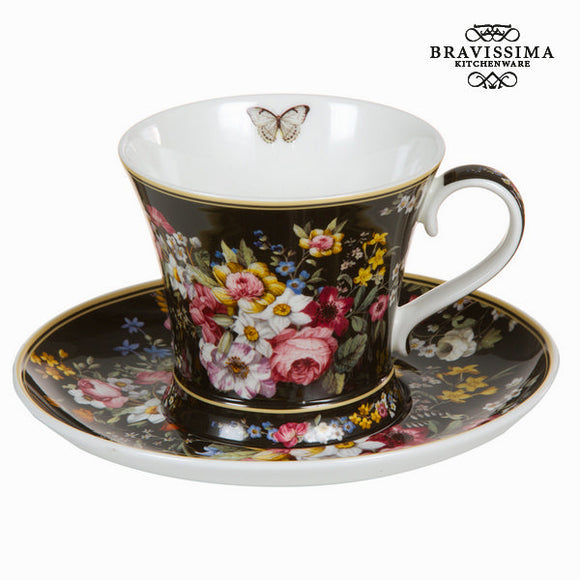 Tasse avec soucoupe bloom black - Collection Kitchen's Deco by Bravissima Kitchen