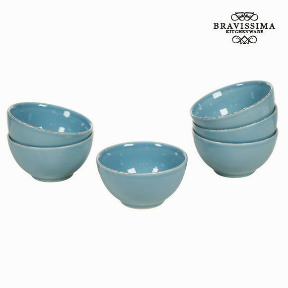 Lot de 6 ramequins en faïence bleu - Collection Kitchen's Deco by Bravissima Kitchen
