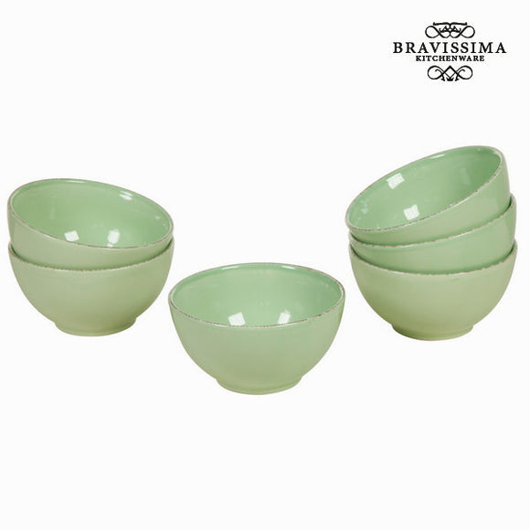 Lot de 6 ramequins en faïence vert - Collection Kitchen's Deco by Bravissima Kitchen