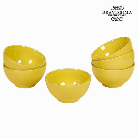 Lot de 6 ramequins en faïence couleur moutarde - Collection Kitchen's Deco by Bravissima Kitchen