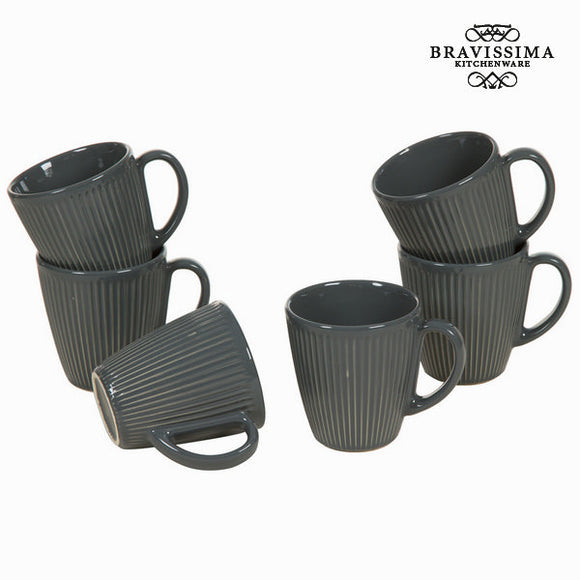 Lot de 6 carafes grises avec poignée - Collection Kitchen's Deco by Bravissima Kitchen