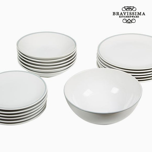 Assietes (19 pcs) Vaisselle Blanc Gris - Collection Kitchen's Deco by Bravissima Kitchen