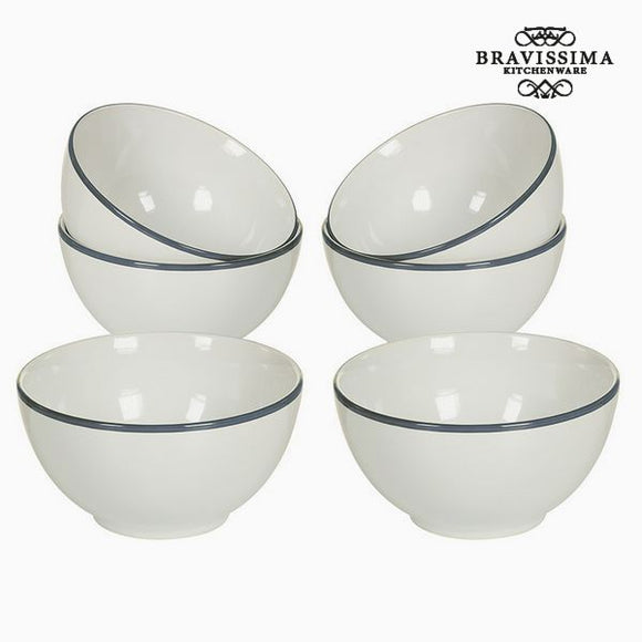 Ensemble de bols Vaisselle Blanc Gris (6 pcs) - Collection Kitchen's Deco by Bravissima Kitchen