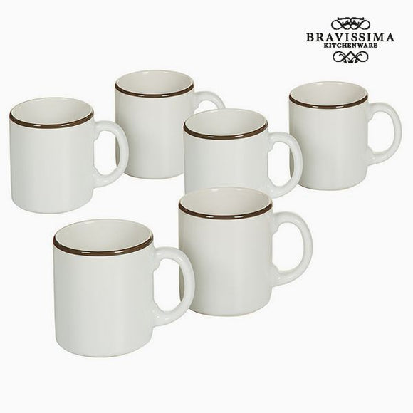 Ensemble de jarres Vaisselle Blanc Marron (6 pcs) - Collection Kitchen's Deco by Bravissima Kitchen