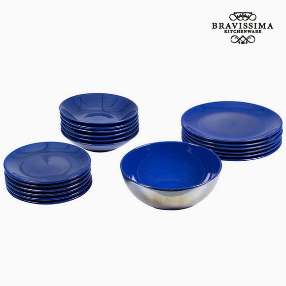 Assietes (19 pcs) Vaisselle Blue marine - Collection Kitchen's Deco by Bravissima Kitchen