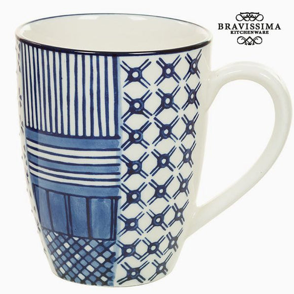 Tasse Porcelaine Blanc Bleu - Collection Kitchen's Deco by Bravissima Kitchen