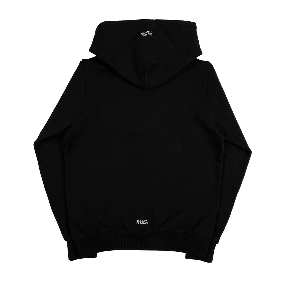 MARCELO BURLON COUNTY OF MILAN - CROSS LOGO HOODIE NERO