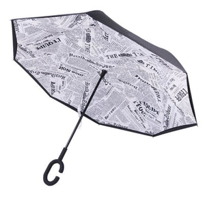 Parapluie Original au motif de Journal - Un Model Pliant au Design Unique - MonParapluieInversé