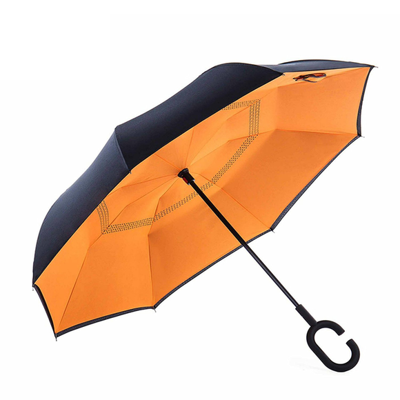 Grand Parapluie orange à fermeture Inversée - La solution Anti-tempête