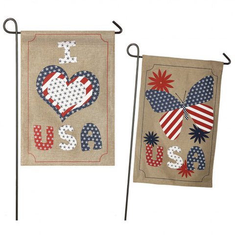 USA Love Burlap Garden Flag