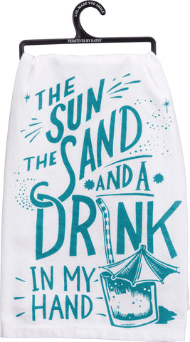 Dish Towel - Sun, Sand, and a Drink in My Hand