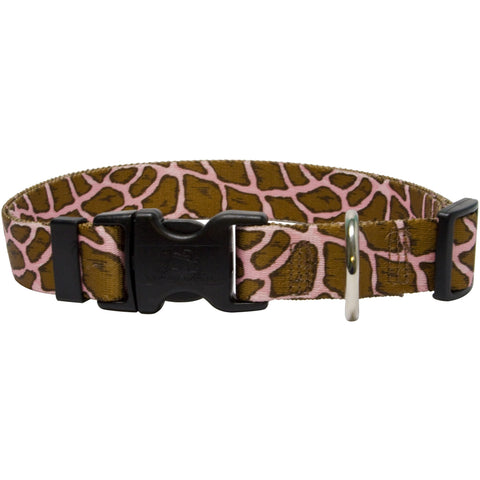 Yellow Dog - Giraffe Pink Collar