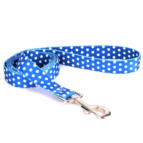 Yellow Dog - Navy Polka Dot Leash