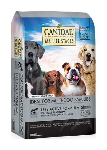 CANIDAE® ALL LIFE STAGES  PLATINUM For Less Active Dogs  MULTI-PROTEIN FORMULA  DRY DOG FOOD