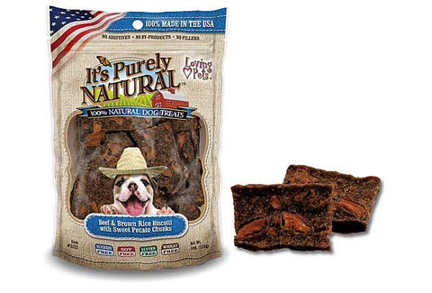 It's Purely Natural® Beef and Brown Rice Biscotti with Sweet Potato Chunks for Dogs