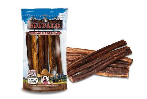 "Pure Buffalo Bully Sticks -6"" 6 Pack"