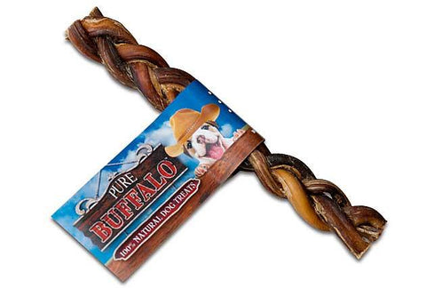 "Pure Buffalo Braided Bully Sticks- 9"" 2 Pack"