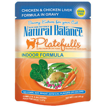 Natural Balance Platefulls® Indoor Chicken & Chicken Liver Formula in Gravy Cat Pouch
