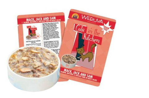 Weruva Mack, Jack and Sam Salmon, Mackerel & Skip Jack Tuna in Gravy Recipe Cat Food