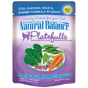 Natural Balance Platefulls® Cod, Chicken, Sole & Shrimp Formula in Gravy Cat Pouch