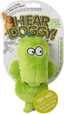Hear Doggy!® Mini Flattie Gator with Chew Guard Silent Squeak Dog Toy
