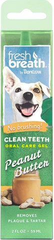 Fresh Breath by TropiClean Peanut Butter Flavored Oral Care Gel for Dogs, 2 oz