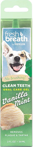Fresh Breath by TropiClean Vanilla Mint Flavored Oral Care Gel for Dogs, 2 oz