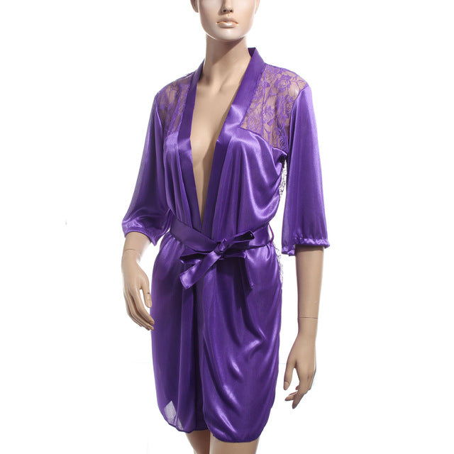 Erotic Satin Lace Robe with G-String
