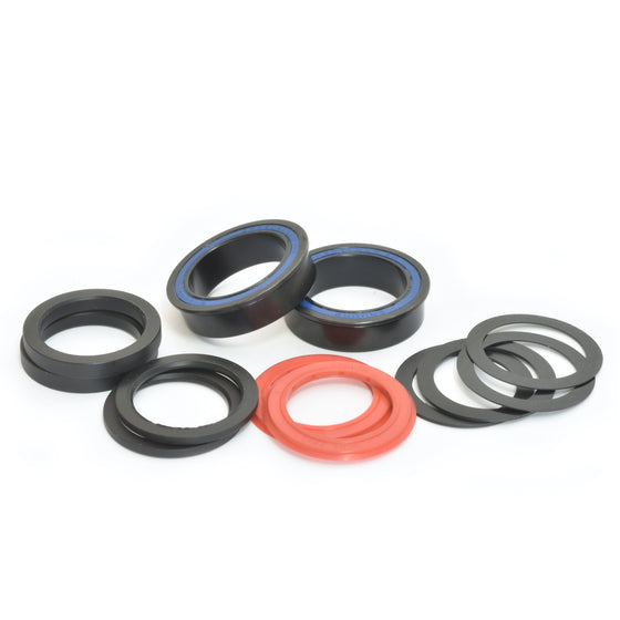 BB86 to 29MM (DUB Compatible) Kit for PressFit 86/92 Bottom Bracket with Flanged, Dual Row Black Oxide Sealed Bearings