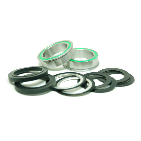 BB86 to 30MM Kit for PressFit 86/92 Bottom Bracket with Flanged, Dual Row Black Oxide Sealed Bearings
