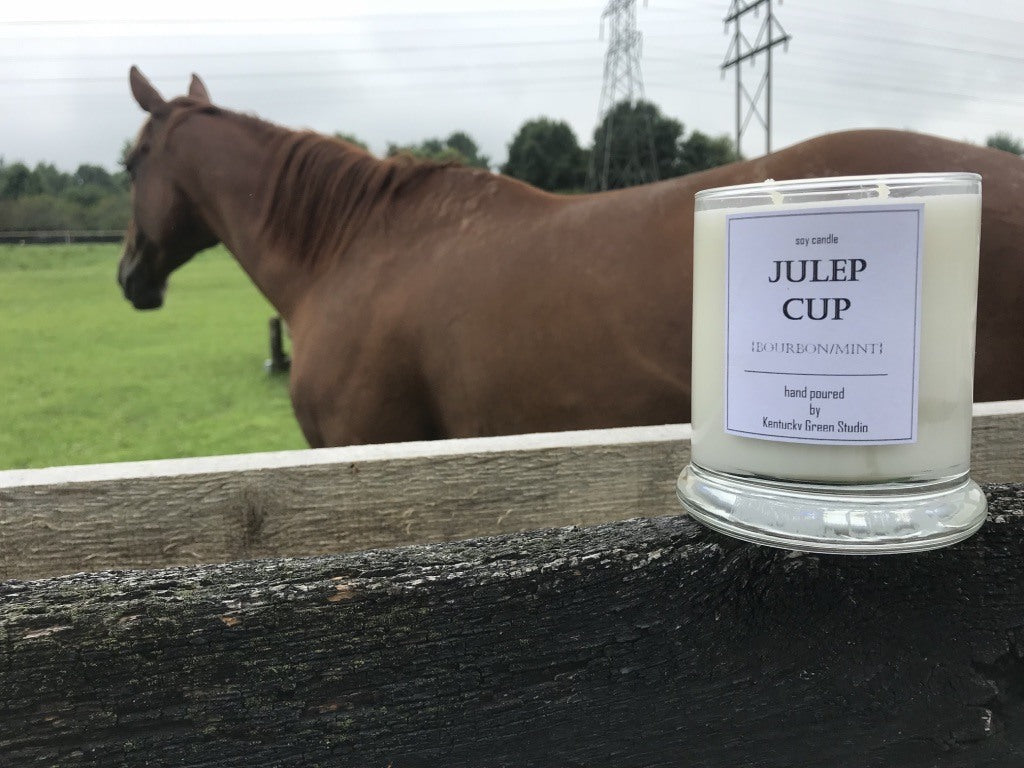 Julep Cup Bourbon Scented Soy Candle with Equestrian in Lexington, Kentucky (KY) & Tennessee (TN)