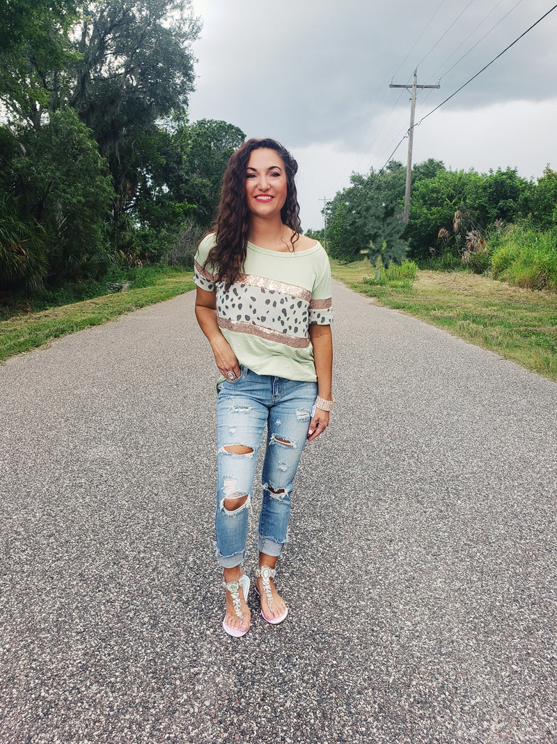Sage Cheetah Sequin Top