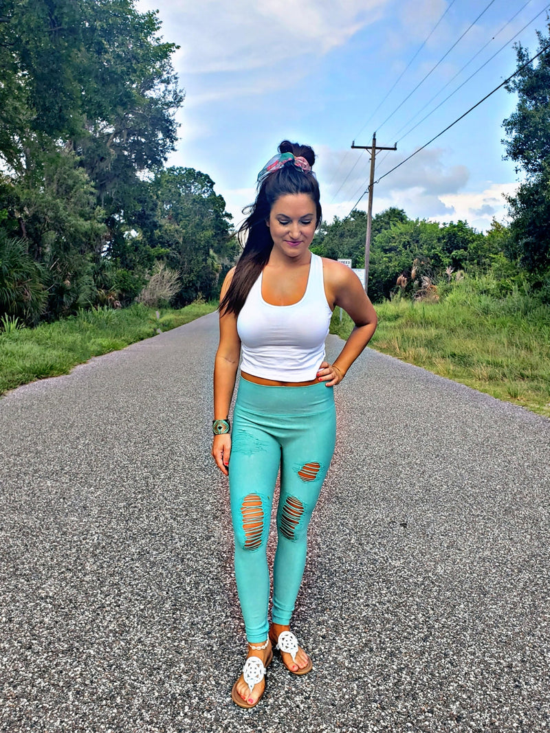 Tainted Turquoise Distressed Leggings