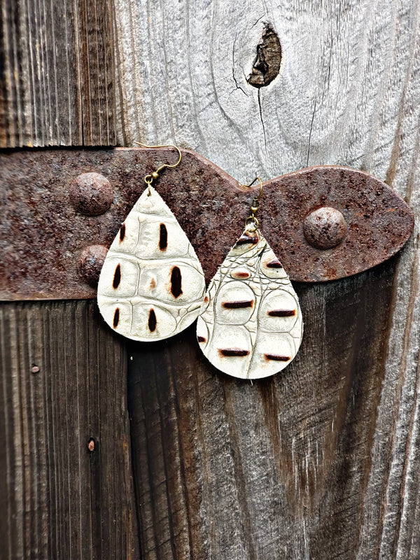 Ivory Croc Teardrop Earrings