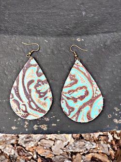 Turquoise Embossed Earrings