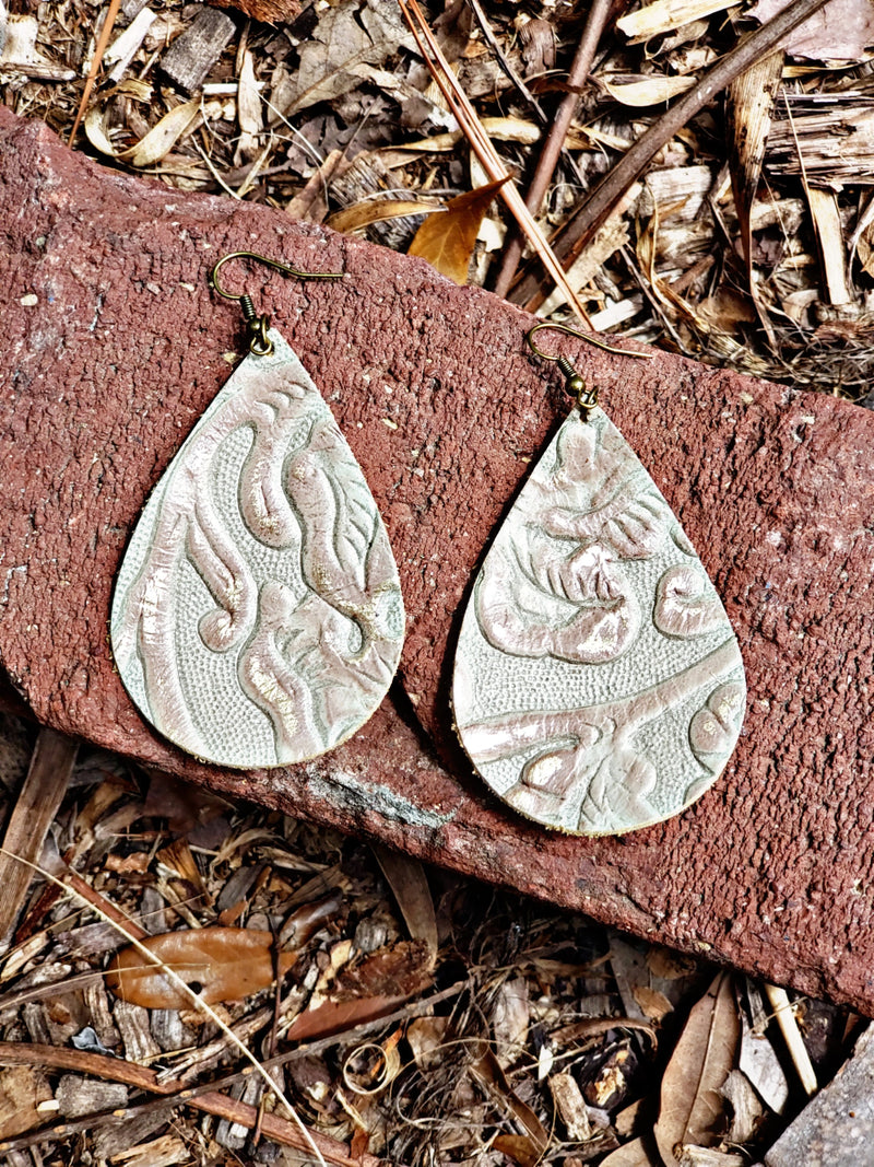 Champagne Embossed Earrings